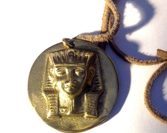 Vintage brass necklace pendant Egyption pharaoh King