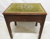 Antique Chippendale Mahogany Lift Top Bench Vanity Dressing Table Piano Stool Needlepoint like Seat