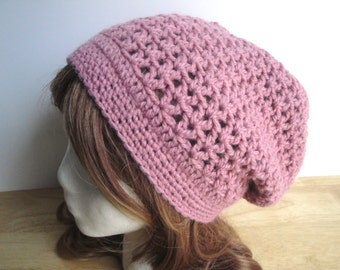 Crochet Pattern - Clara Slouch Hat, Crochet Slouch Hat, Easy Pattern, Worsted Yarn, Lacy Design