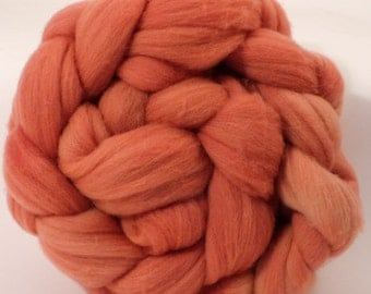 Hand dyed Targhee top - Madder and Fustic - 4.2 oz.