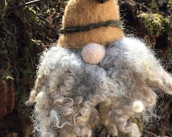 """Needle Felting Kit - """"Jingle the Woodland Gnome Kit - Beginner's Felting Kit - Holiday Kit"""