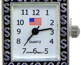Patriotic American Flag Silver Watch Face with Loops