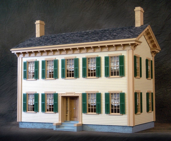 """Scale One Inch, Historic Mansion, Wooden Dollhouse Kit, """"Honest Abe"""", 1:12 Scale"""