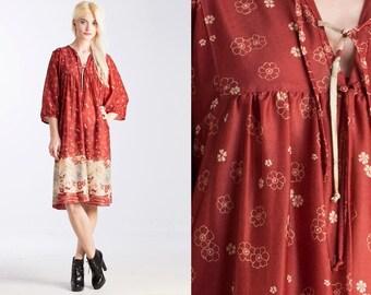 Vintage 70s Poly Print Tie Top INDIA Dress // Boho Hippie