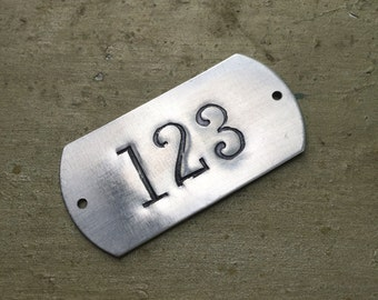Hand punched aluminum ID numbered tags -  Custom numbered locker tags - rectangle number plates - hotel room numbers