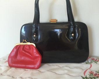 Vintage Black Patent Leather Purse with Red Interior by Koret. Red and Black Leather handbag with Coin Purse and Mirror.  Box Purse