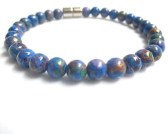 Blue Magnetic Hematite Bracelet, Magnetic Bracelet