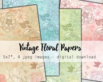 """Digital Images - Digital Collage Sheet Download - Vintage Floral Backgrounds 5x7"""" -  1204  - Digital Paper - Instant Download Printables"""