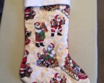 Sale Quilted Patchwork Christmas Stocking with Santas making toys
