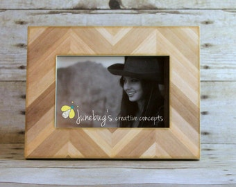 4x6 5x7 8x10 Natural Wood Chevron Photo Frame | Wood Inlay Frame | Wood Picture Frames | Wall or Tabletop Photo Frame | Decorative Frame