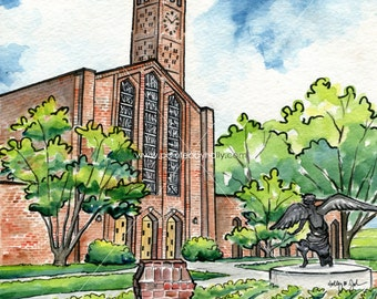 Mississippi State Chapel of Memories Art Artwork // Watercolor Painting // Signed Print // Gift