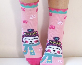 Children Socks Pink Socks Boot Socks Leg Warmer Fun Socks Casual Cotton Socks Cute Ankle Socks Cotton Socks Printed Socks