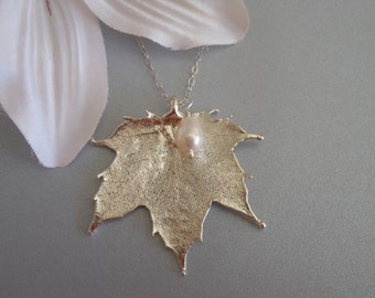 Silver Maple Leaf Necklace, Pearl Necklace, Mother of the Bride Gift,Wedding Jewelry, Real Leaf, Sterling Silver,Silver Leaf, Mother in Law