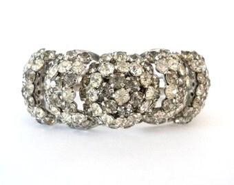 Silver Metal Rhinestone Clamper Bracelet Smoke and Clear Rhinestones Vintage Wedding Jewelry from TreasuresOfGrace