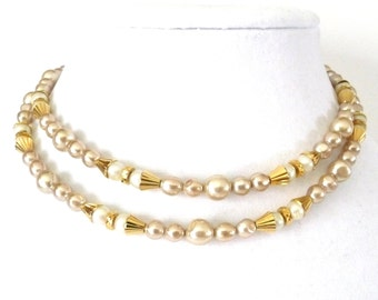 Long Napier Necklace Champagne and White Faux Pearls on Gold Tone Chain and Closure