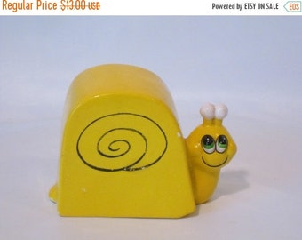 MOVING SALE Vintage Yellow Ceramic Snail Bank. Made in Japan by Toscany.