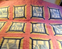 "A Vintage Patchwork Quilt Comforter  sz Blue Lavender & White Patches  houses  72 x 72"" signed"""