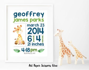 DIY Digital Watercolor Giraffe Birth Announcement Print