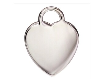 925 Sterling Silver 12x16mm Heart Disc Charm 2pcs
