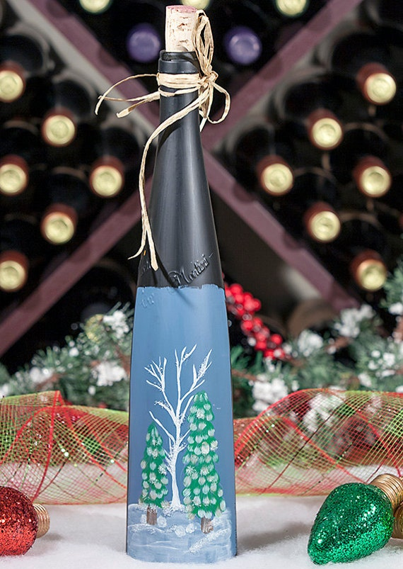 Lighted Wine Bottle, Hand Painted Winter Scene, Christmas Decoration, Glitter Trees, Accent Lamp, Night Light, Frosted Glass