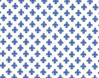 Petite Fleur De Lis (Blue) - Michael Miller Fabrics - 1 Yard