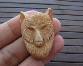 Antique look carved Wolf, Buffalo bone carving, Bovine,  Jewelry making Supplies S6358