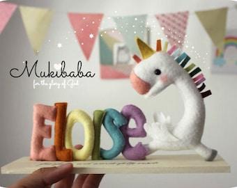 Custom Name Unicorn, Princess Nursery, Rainbow, Custom Baby Name Art