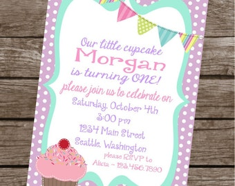 SWEET CUPCAKE Happy Birthday Party or Baby Shower Invitations Set of 12 {1 Dozen} Pastel Polkadots Stripes - Party Packs Available