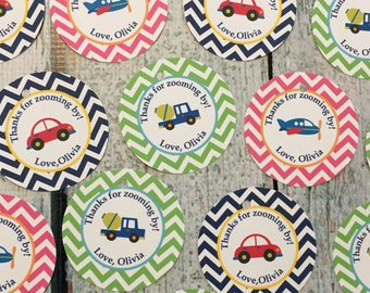 GIRLY TRANSPORTATION Happy Birthday or Baby Shower Party Favor Tags/Sticker - 1 dozen {12} - Available