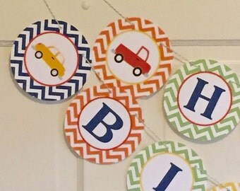 CARS AND TRUCKS Transportation Happy Birthday or Baby Shower Party Banner Bright Colors - Party Packs Available