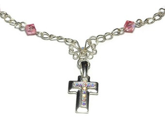 Swarovski cross necklace, handmade Aurora Borealis crystals double cross, AB filigree center and Swarovski pink crystal beads, silver plated