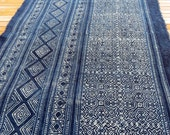 Hmong cotton-Indigo Batik fabric, textiles and fabrics- From Thailand-Table runner,
