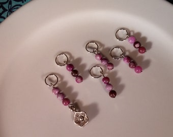 Petite Flower Stitch Markers - up to US 7 needle (OOAK)