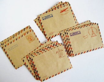 Set of 50 mini vintage envelopes