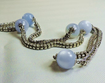 Opera Length Rhinestone Necklace with Ice Blue Beads