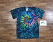 Tie Dye T-Shirt ~ Rainbow Spiral/Aqua Scrunch i2651 Adult Medium