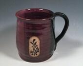 Pottery Mug -  Ceramic Coffee Cup - 16 oz - Ready to Ship - Purple and Black - Paisley stamp  -  ceramics - pottery - stoneware