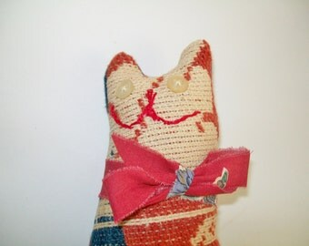 Vintage Primitive Cat c.1800's Coverlet Quilt Salvaged Handmade Collectible Vintage Button Eyes YOUR CHOICE