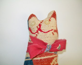 Vintage Primitive Cat c.1800's Coverlet Quilt Salvaged Handmade Collectible Vintage Button Eyes