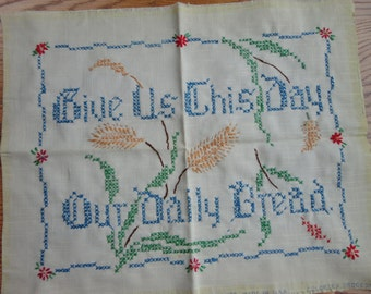 Unframed  GIVE Us This DAY Our Daily Bread Sampler