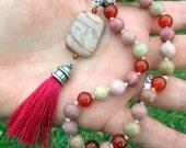 SELF LOVE  II Pagan Mini Mala - Rhodonite, Carnelian & Porcelain Jasper - spirit work, meditation, self care, compassion
