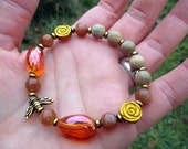 HONEYBEE Mala-Style Bracelet - Sunstone & Tangerine Aura Quartz with Gold-Plated Bee and Carved Golden Hematite Roses - Wicca, witchcraft