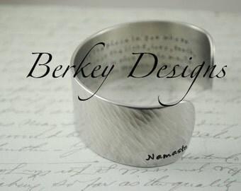 Namaste I Honor You Secret Message Hand Stamped Bracelet- Personalized Bracelet