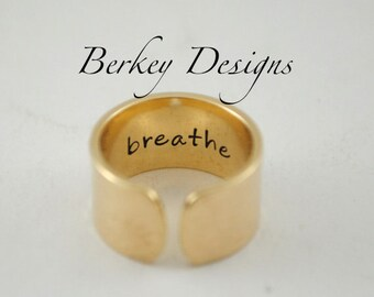 Brass Keepsake Secret Message Personalized Cuff Ring
