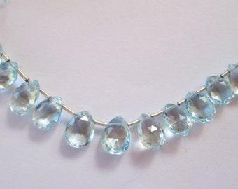 "Flat Teardrop Blue Topaz Beads Faceted Translucent Sky Blue 4"" 16 Natural Gemstone Beads"