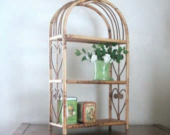 Burnt Bamboo Arched Wall Shelf Hanging or Standing Wood Shelves Heart Detail Asian Decor