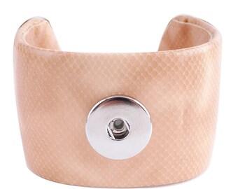 "1 Bangle Bracelet - 7"" Apricot Beige Pink Leather Fits 18MM Candy Snap Charm kc0011 CJ0447"
