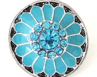1 PC 18MM Blue Enamel Rhinestone Silver Snap Candy Charm kb8212 CC1460