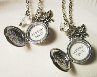 anne of green gables locket pair necklace with kindred spirit quote pendant bridesmaid bestfriend gift necklace for women book jewelry