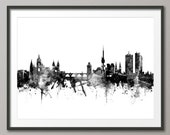 Prague Skyline, Prague (Praha) Czech Republic  Cityscape Art Print (2378)